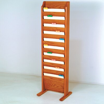 Free Standing Ten Pocket Chart Holder Wood Finish: Medium Oak
