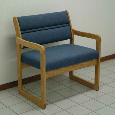 Valley Bariatric Guest Chair Wood Finish: Medium Oak, Fabric: Vinyl Blue, Frame Type: Straight Leg