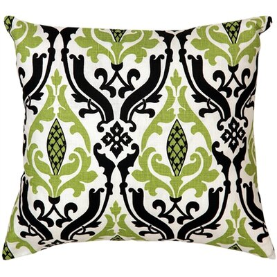 Arcadia Print Linen Throw Pillow Size: 16 H x 16 W x 5 D, Color: Green/Black