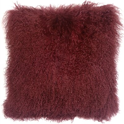 Edgecumbe Mongolian Sheepskin Throw Pillow Color: Wine