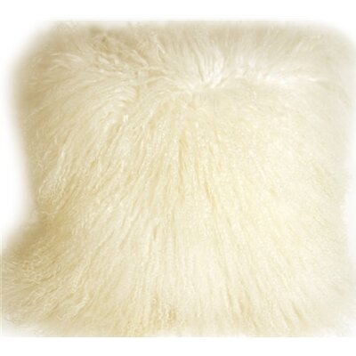 Edgecumbe Mongolian Sheepskin Throw Pillow Color: Natural White