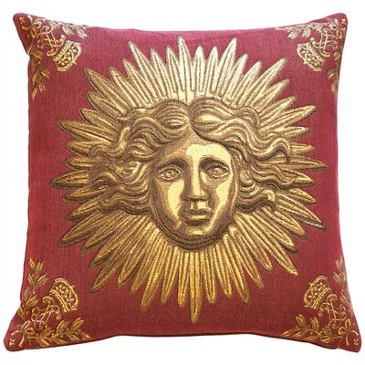 Sun King Throw Pillow Color: Red
