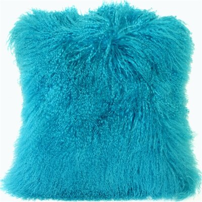 Edgecumbe Mongolian Sheepskin Throw Pillow Color: Turquoise Blue