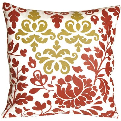 Chessington Damask Throw Pillow Color: Red/White/Ocher