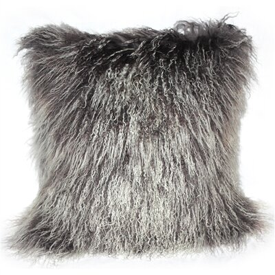 Edgecumbe Mongolian Sheepskin Throw Pillow Color: Frosted Gray
