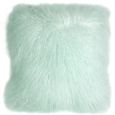 Retta Mongolian Sheepskin Throw Pillow Color: Pastel Mint