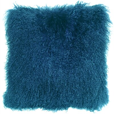 Retta Mongolian Sheepskin Throw Pillow Color: Teal