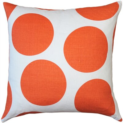 Vanderford Circles Linen Throw Pillow Color: Orange