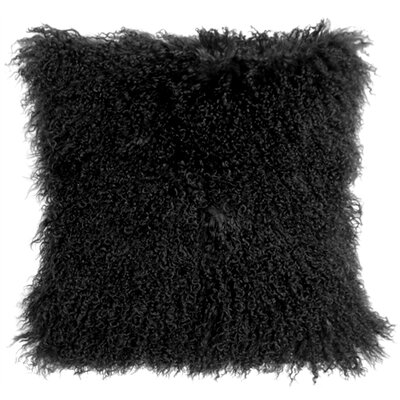 Mongolian Sheepskin Throw Pillow Color: Black