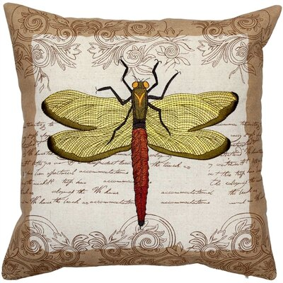 Citronelle Embroidered Dragonfly Cotton Throw Pillow