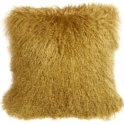 Edgecumbe Mongolian Sheepskin Throw Pillow Color: Soft Gold
