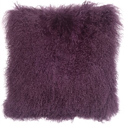 Retta Mongolian Sheepskin Throw Pillow Color: Purple