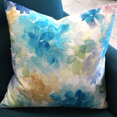 Ernestine Flower Cotton Throw Pillow Color: Blue