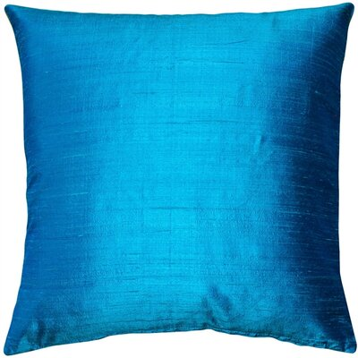Finlay Solid Silk Throw Pillow Size: 20 H x 20 W x 6 D, Color: Peacock Blue