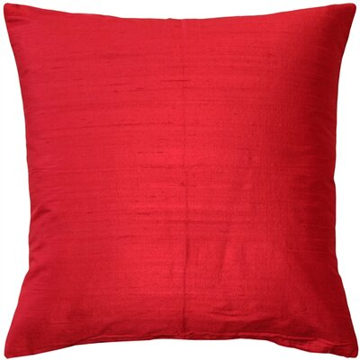 Finlay Solid Silk Throw Pillow Size: 16 H x 16 W x 5 D, Color: Red