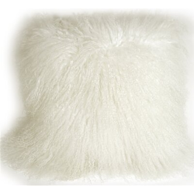 Edgecumbe Mongolian Sheepskin Throw Pillow Color: Snow White