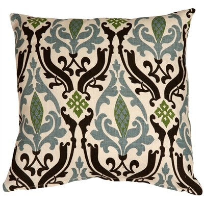 Damask Print Linen Throw Pillow Size: 16 H x 16 W x 5 D, Color: Blue/Brown