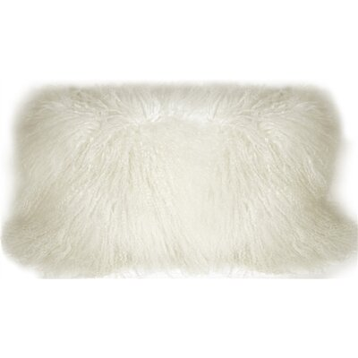Reynalda Mongolian Sheepskin Lumbar Pillow Color: Snow White