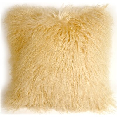 Retta Mongolian Sheepskin Throw Pillow Color: Champange