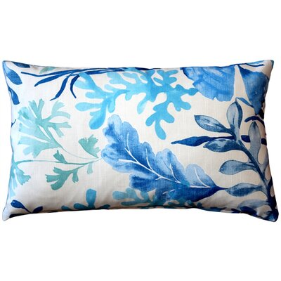 Everly Cotton Lumbar Pillow Color: Blue