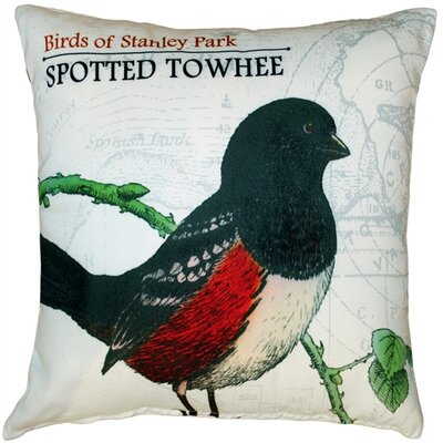 Spotted Towhee Bird Throw Pillow