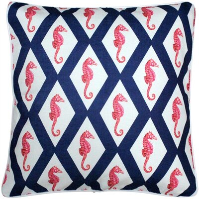 Baldwin Argyle Seahorse Throw Pillow Size: 20 H x 20 W x 6 D, Color: Navy/Red