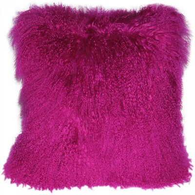 Mongolian Sheepskin Throw Pillow Color: Hot Magenta Pink