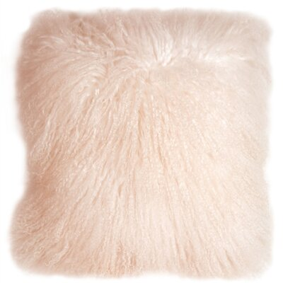 Edgecumbe Mongolian Sheepskin Throw Pillow Color: Pastel Pink
