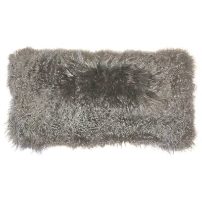 Reynalda Mongolian Sheepskin Lumbar Pillow Color: Gray