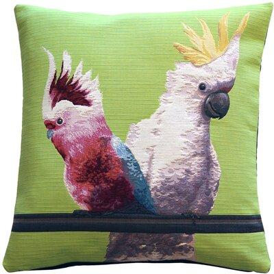 Forestport Cockatiel Birds Tapestry Throw Pillow Color: Green