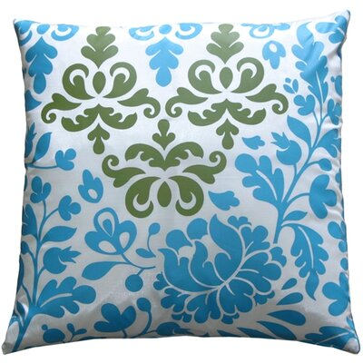 Chessington Damask Throw Pillow Color: Blue/White/Olive