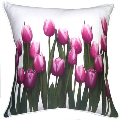Dawes Vibrant Magenta Tulips Cotton Throw Pillow