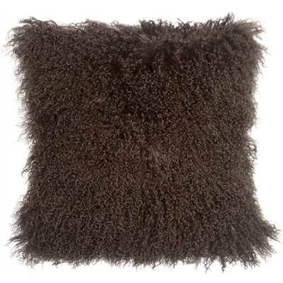 Edgecumbe Mongolian Sheepskin Throw Pillow Color: Brown