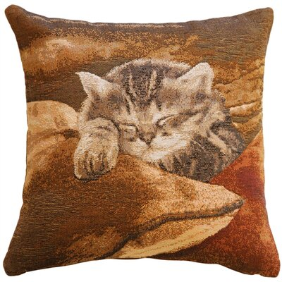 Newstead Sleeping Cat Throw Pillow Color: Brown