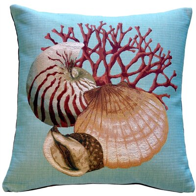 Bettencourt Shells Nautical Throw Pillow Color: Blue