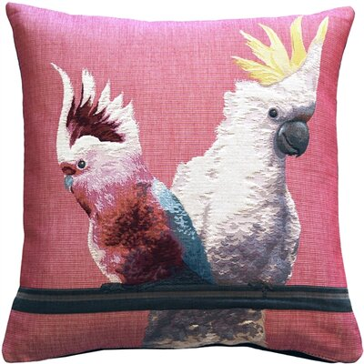 Forestport Cockatiel Birds Tapestry Throw Pillow Color: Pink
