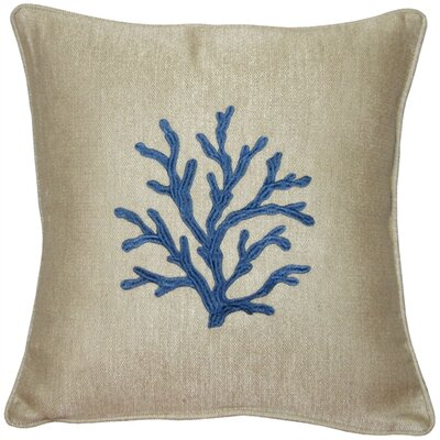 Sea Coral Throw Pillow Color: Blue