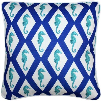 Baldwin Argyle Seahorse Throw Pillow Size: 20 H x 20 W x 6 D, Color: Blue