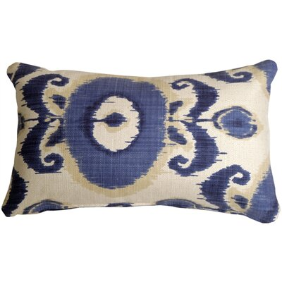 Fortune Ikat Lumbar Pillow Color: Blue/White