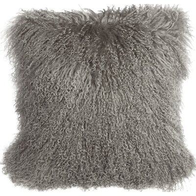 Retta Mongolian Sheepskin Throw Pillow Color: Gray