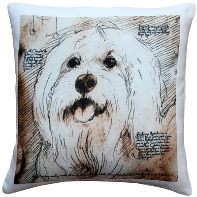 Chadwin Mischievous Maltese Dog Indoor/Outdoor Throw Pillow