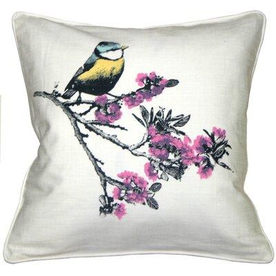 Bird on Cherry Blossom Branch Cotton Throw Pillow