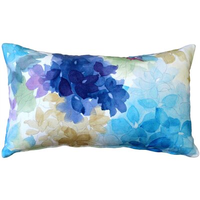 Ernestine Flower Cotton Lumbar Pillow Color: Blue