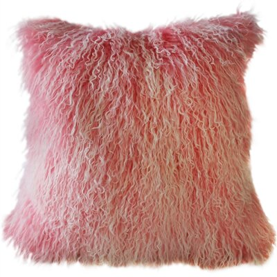 Retta Mongolian Sheepskin Throw Pillow Color: Frosted Pink