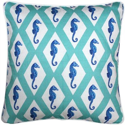 Capri Argyle Seahorse Throw Pillow Size: 20 H x 20 W x 6 D, Color: Turquoise