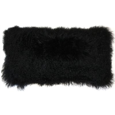 Reynalda Mongolian Sheepskin Lumbar Pillow Color: Black