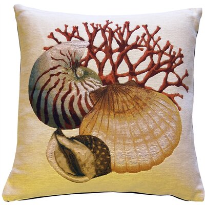 Coral and Shells Nautical Throw Pillow Color: Cream
