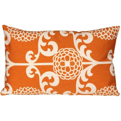 Washingtonville Floret Cotton Lumbar Pillow Color: Citrus Orange
