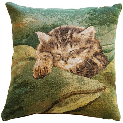 Newstead Sleeping Cat Throw Pillow Color: Green
