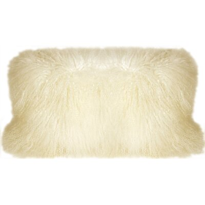 Reynalda Mongolian Sheepskin Lumbar Pillow Color: Natural White